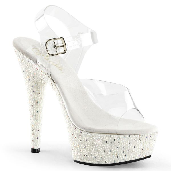 Product image of Pleaser PEARLIZE-608 Clear/White 6 inch (15.2 cm) Heel 1 3/4 inch (4.5 cm) Platform Ankle Strap Sandal With Pearls & Rhinestones Shoes