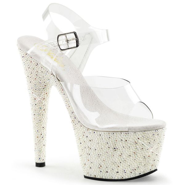 Product image of Pleaser PEARLIZE-708 Clear/White 7 inch (17.8 cm) Heel 2 3/4 inch (7 cm) Platform Ankle Strap Sandal With Pearls & Rhinestones