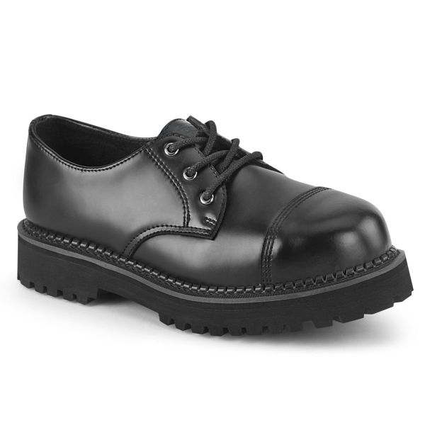 Product image of Demonia RIOT-03 Black Faux Leather 3 Eyelet Unisex Steel Toe Classic Shoe Rubber Sole