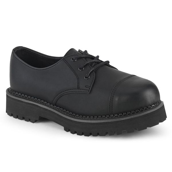 Product image of Demonia RIOT-03 Black Vegan Faux Leather 3 Eyelet Unisex Steel Toe Classic Shoe Rubber Sole
