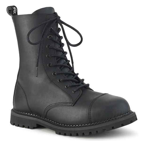 Product image of Demonia RIOT-10 Black Vegan Faux Leather 10 Eyelet Unisex Steel Toe Ankle Boot Rubber Sole