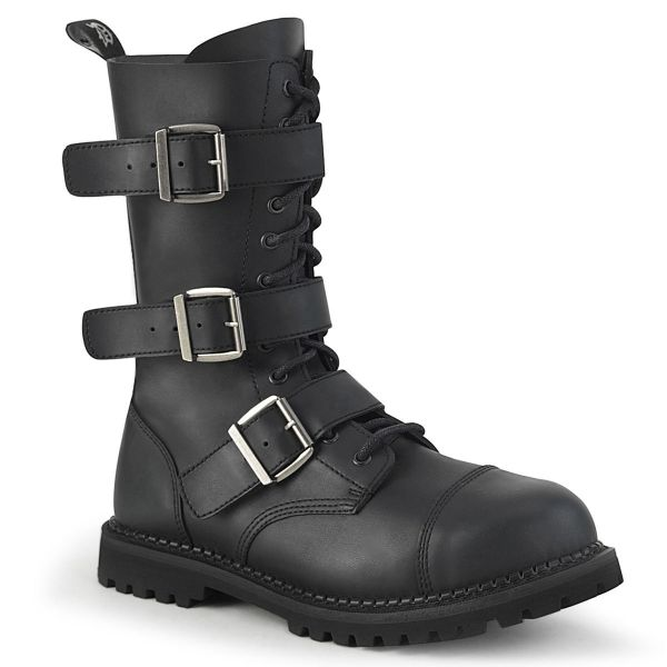 Product image of Demonia RIOT-12BK Black Vegan Faux Leather 12 Eyelet Unisex Steel Toe Ankle Boot Rubber Sole