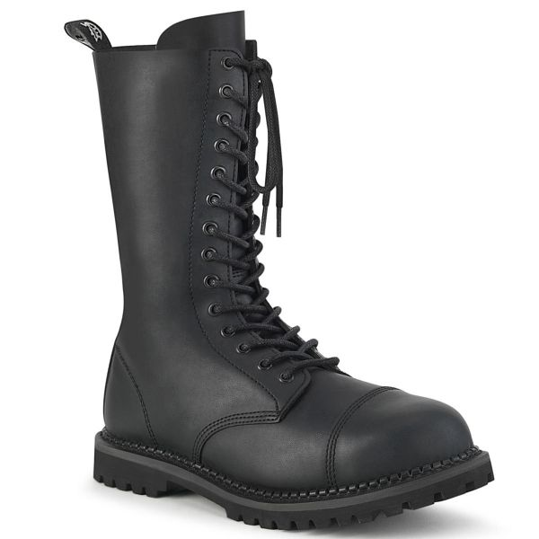 Product image of Demonia RIOT-14 Black Vegan Faux Leather 14 Eyelet Unisex Steel Toe Mid Calf Boot Rubber Sole