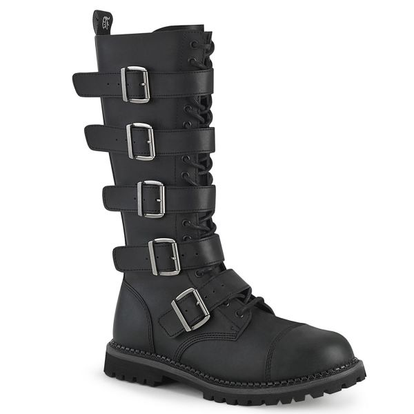 Product image of Demonia RIOT-18BK Black Vegan Faux Leather 18 Eyelet Unisex Steel Toe Knee Boot Rubber Sole Knee High Boot
