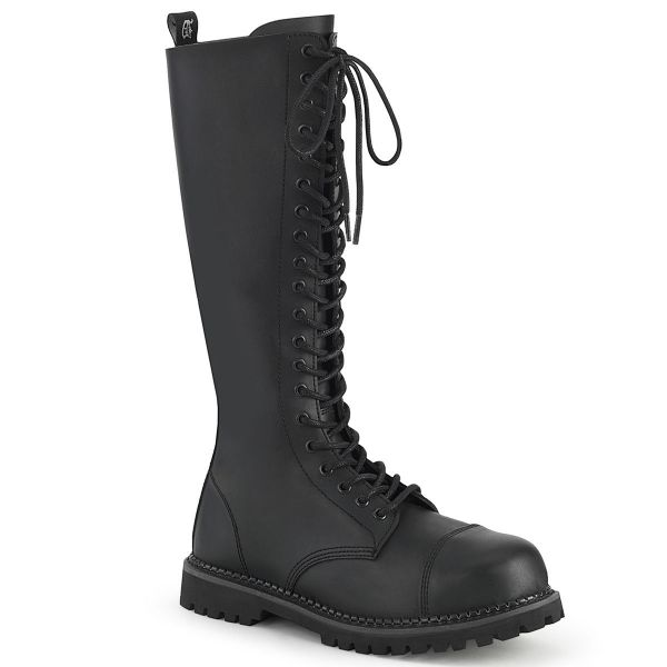 Product image of Demonia RIOT-20 Black Vegan Faux Leather 20 Eyelet Unisex Steel Toe Knee Boot Rubber Sole Knee High Boot