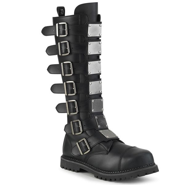 Product image of Demonia RIOT-21MP Black Vegan Faux Leather Unisex Steel Toe Knee Boot Rubber Sole