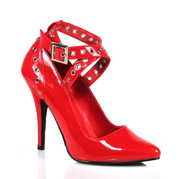 Product image of Pleaser SEDUCE-443 Red Patent 5 inch (12.7 cm) Crisscross Pump With  Eyelet-Hole Punch
