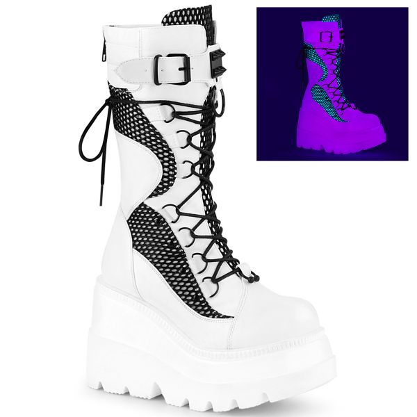 Product image of Demonia SHAKER-70 White Vegan Faux Leather-Black Fishnet 4 1/2 inch Wedge Platform Lace-Up Mid-Calf Boot Back Metal Zip