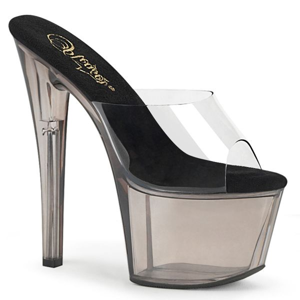 Product image of Pleaser SKY-301T Clear/Smoke Tinted 7 inch (17.8 cm) Heel 2 3/4 inch (7 cm) Tinted Platform Slide Slide Mule Shoes