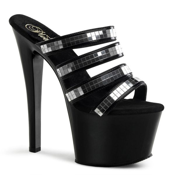 Product image of Pleaser SKY-304 Black Patent/Black 7 inch (17.8 cm) Stiletto Heel Four-Band Platform Slide