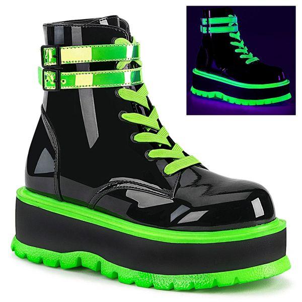 Product image of Demonia SLACKER-52 Black Patent-Blacklight (Uv) Reactive Iridescent Green 2 inch (5.1 cm) Platform Lace-Up Ankle Boot Side Zip