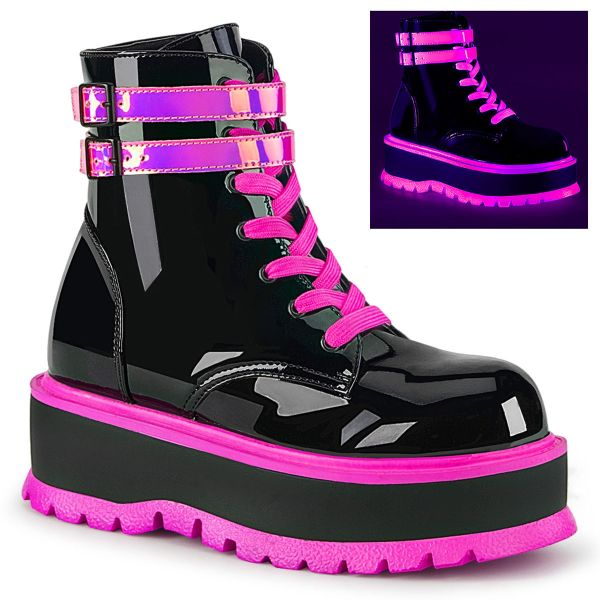 Product image of Demonia SLACKER-52 Black Patent-Blacklight (Uv) Reactive Iridescent Pink 2 inch (5.1 cm) Platform Lace-Up Ankle Boot Side Zip