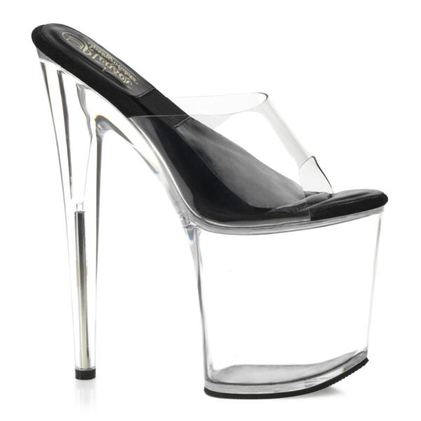 "Product image of Pleaser SOL-801-O Clear-Black/Clear 8 inch (20.3 cm)  inch (10.2 cm)O inch Shaped Heel ""Sol inch Platform Slide Slide Mule Shoes"