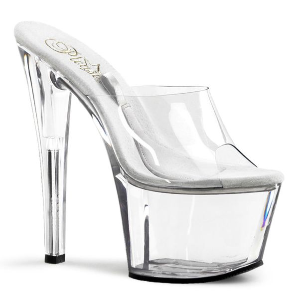 Product image of Pleaser TREASURE-701 Clear/Clear 7 inch (17.8 cm) Heel 2 3/4 inch (7 cm) Platform Slide Sandal Shoes