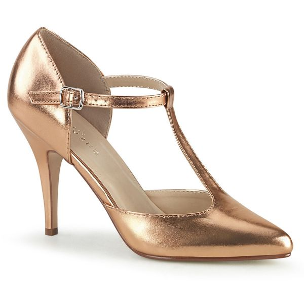 Product image of Pleaser VANITY-415 Rose Gold Metallic Polyurethane (Pu) 4 inch (10.1 cm) Heel T-Straps D' Orsay Style Pump Court Pump Shoes