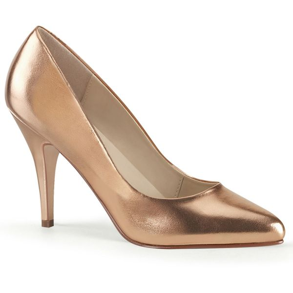 Product image of Pleaser VANITY-420 Rose Gold Metallic Polyurethane (Pu) 4 inch (10.1 cm) Heel T-Straps D' Orsay Style Pump Court Pump Shoes