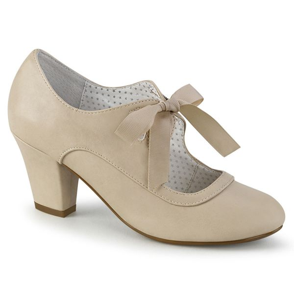 Product image of Pin Up Couture WIGGLE-32 Beige Faux Leather 2 1/2 inch (6.5 cm) Cuben Heel Heel Mary Jane Pump With Ribbon Tie Court Pump Shoes