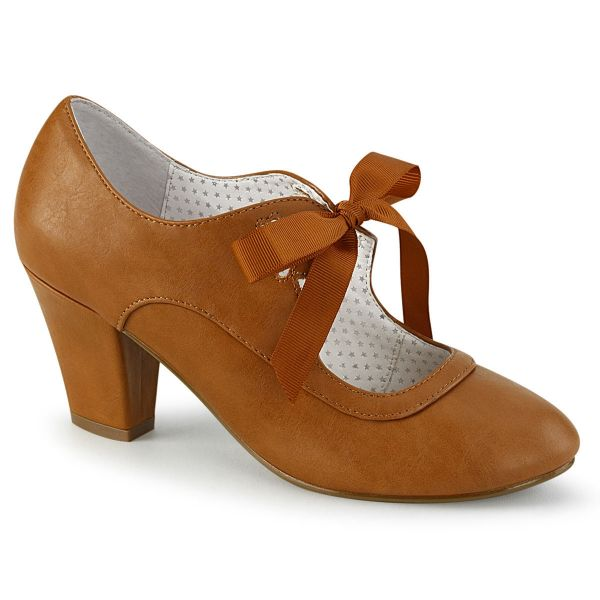 Product image of Pin Up Couture WIGGLE-32 Caramel Faux Leather 2 1/2 inch (6.5 cm) Cuben Heel Heel Mary Jane Pump With Ribbon Tie Court Pump Shoes