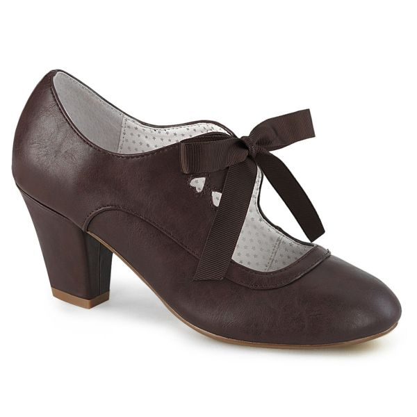 Product image of Pin Up Couture WIGGLE-32 Dark Brown Faux Leather 2 1/2 inch (6.5 cm) Cuben Heel Heel Mary Jane Pump With Ribbon Tie Court Pump Shoes