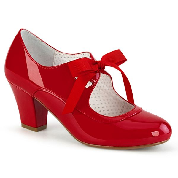 Product image of Pin Up Couture WIGGLE-32 Red Patent 2 1/2 inch (6.5 cm) Cuben Heel Heel Mary Jane Pump With Ribbon Tie Court Pump Shoes