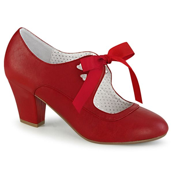 Product image of Pin Up Couture WIGGLE-32 Red Faux Leather 2 1/2 inch (6.5 cm) Cuben Heel Heel Mary Jane Pump With Ribbon Tie Court Pump Shoes
