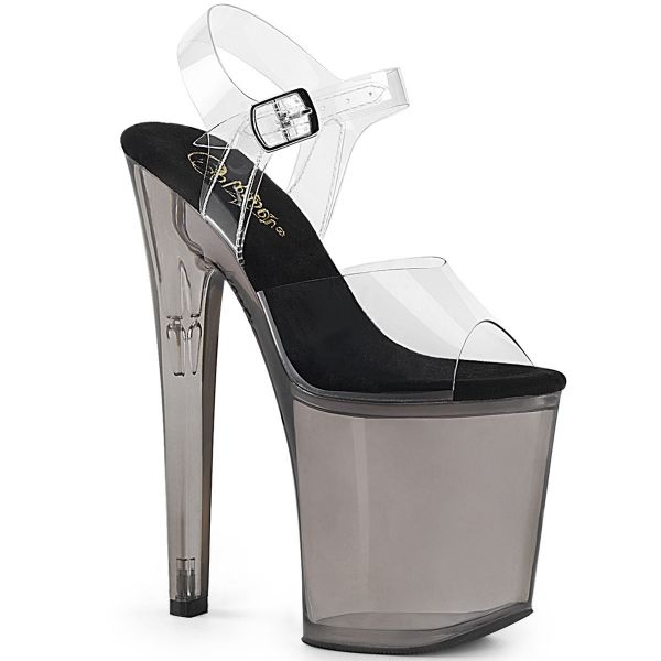 Product image of Pleaser XTREME-808T Clear/Smoke Tinted 8 inch (20 cm) Heel 4 inch (10 cm) Tinted Platform Ankle Strap Sandal Shoes