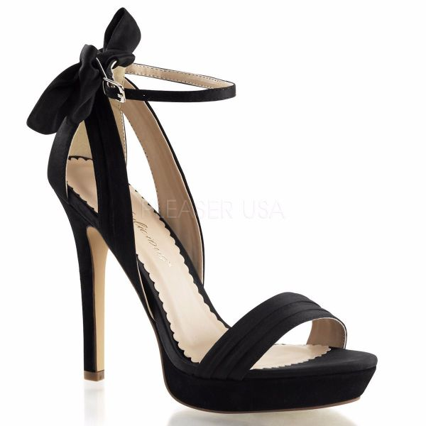 Product image of Fabulicious Lumina-25 Black Satin, 4 3/4 inch (12.1 cm) Heel, 1 inch (2.5 cm) Platform Sandal Shoes