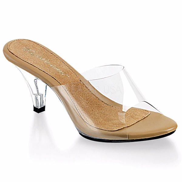 Product image of Fabulicious Belle-301 Clear-Tan/Clear, 3 inch (7.6 cm) Heel, 1/8 inch (0.3 cm) Platform Slide Mule Shoes