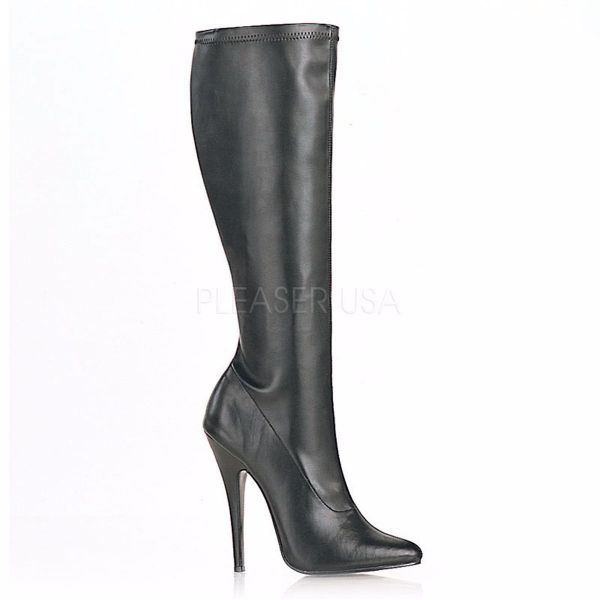 Product image of Devious Domina-2000 Black Stretch Pu, 6 inch (15.2 cm) Heel Knee High Boot