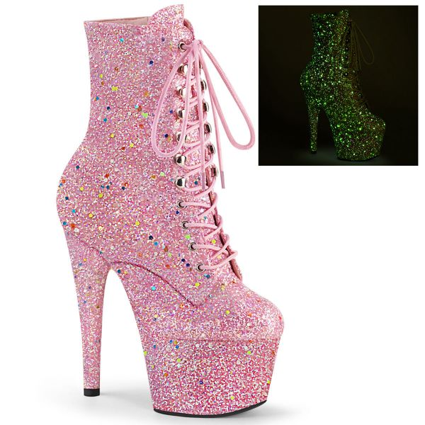 Product image of Pleaser ADORE-1020GDLG Pink Multicolour Glitter/Pink Multicolour Glitter 7 inch (17.8 cm) Heel 2 3/4 inch (7 cm) Platform Lace-Up Front Ankle Boot Side Zip