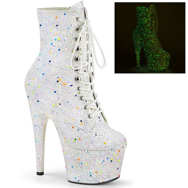 Product image of Pleaser ADORE-1020GDLG Whtie Multicolour Glitter/White Multicolour Glitter 7 inch (17.8 cm) Heel 2 3/4 inch (7 cm) Platform Lace-Up Front Ankle Boot Side Zip