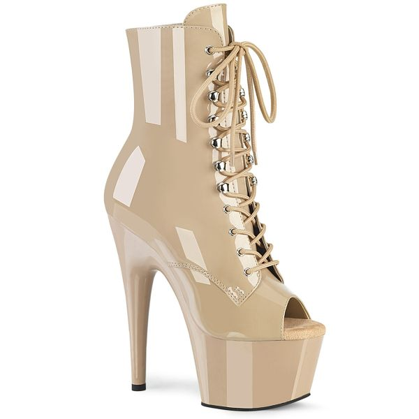 Product image of Pleaser ADORE-1021 Nude Patent/Nude 7 inch (17.8 cm) Heel 2 3/4 inch (7 cm) Platform Peep Toe Lace-Up Ankle Boot Side Zip