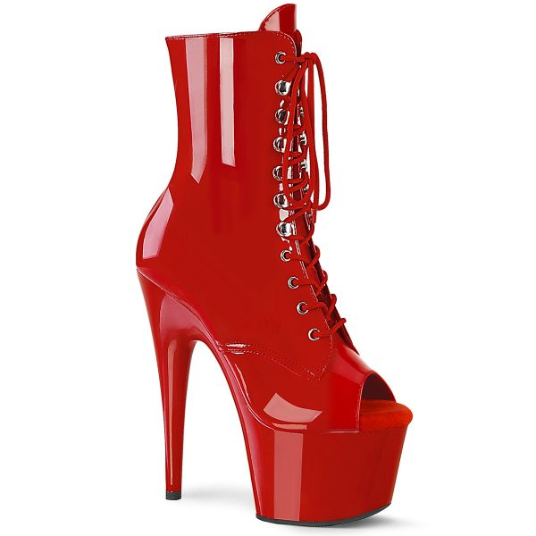 Product image of Pleaser ADORE-1021 Red Patent/Red 7 inch (17.8 cm) Heel 2 3/4 inch (7 cm) Platform Peep Toe Lace-Up Ankle Boot Side Zip