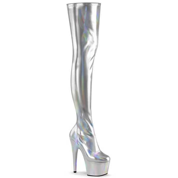 Product image of Pleaser ADORE-3000HWR Silver Stretch Holographic/Silver Holographic 7 inch (17.8 cm) Heel 2 3/4 inch (7 cm) Platform Stretch Thigh Boot Side Zip Thigh High Boot