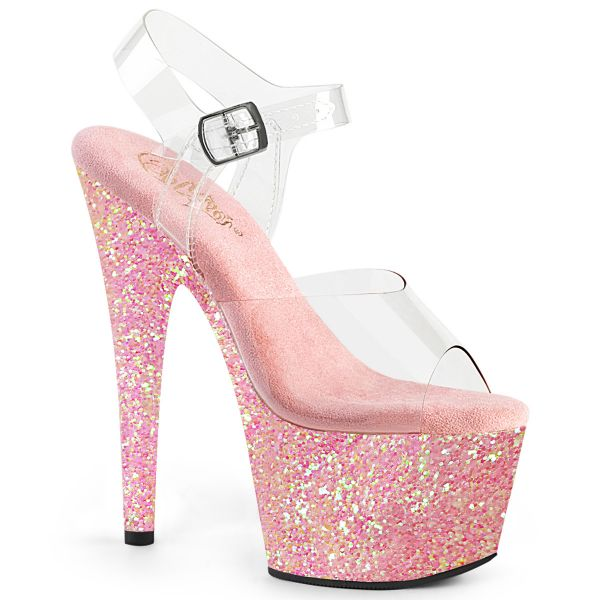 Product image of Pleaser ADORE-708LG Clear/Baby Pink Glitter 7 inch (17.8 cm) Heel 2 3/4 inch (7 cm) Platform Ankle Strap Sandal With Glitter Bottom Shoes