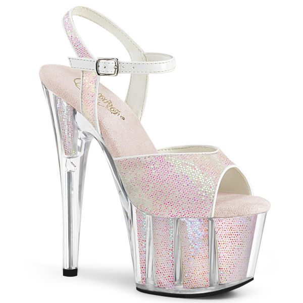 Product image of Pleaser ADORE-710G Multicolour Glitter/Multicolour Glitter Inserts 7 inch (17.8 cm) Heel 2 3/4 inch (7 cm) Platform Ankle Strap Sandal With Glitter Inserts
