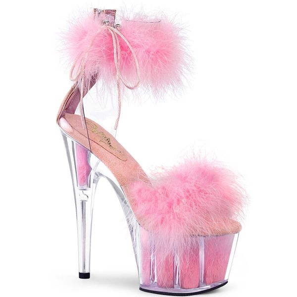 Product image of Pleaser ADORE-724F Clear-Baby Pink Faux Fur/Baby Pink Faux Fur 7 inch (17.8 cm) Heel 2 3/4 inch (7 cm) Platform Faux Feathers Faux Fur Ankle Cuff Sandal Back Zip
