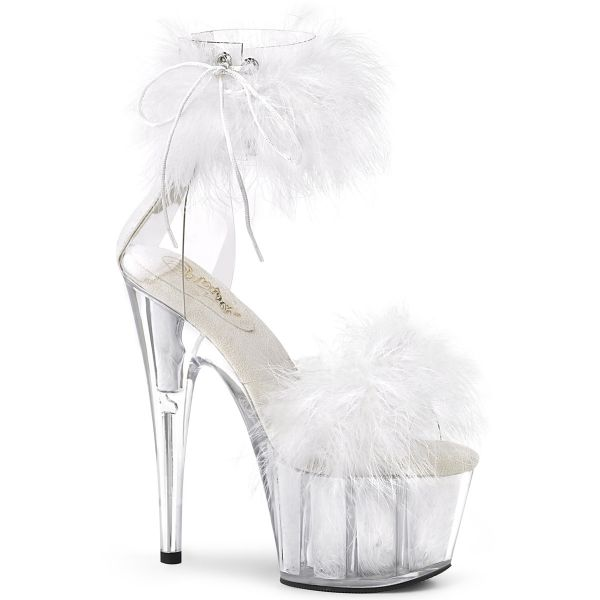 Product image of Pleaser ADORE-724F Clear-White Faux Fur/White Faux Fur 7 inch (17.8 cm) Heel 2 3/4 inch (7 cm) Platform Faux Feathers Faux Fur Ankle Cuff Sandal Back Zip