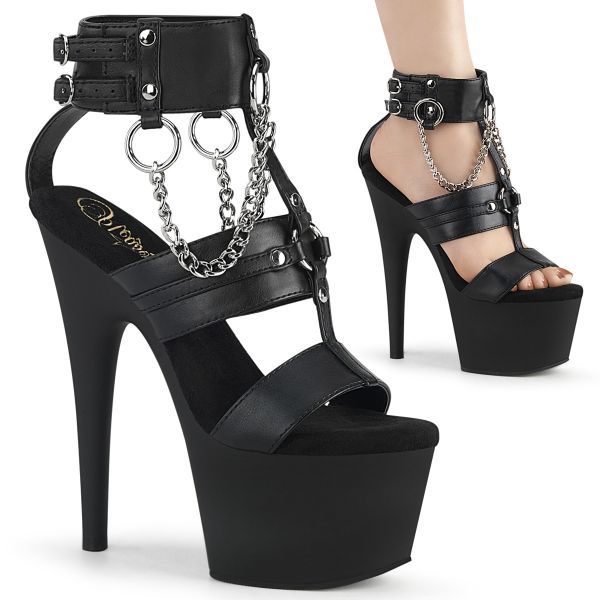 Product image of Pleaser ADORE-761 Black Faux Leather/Black Matte 7 inch (17.8 cm) Heel 2 3/4 inch (7 cm) Platform Strappy T-Straps Sandal Shoes