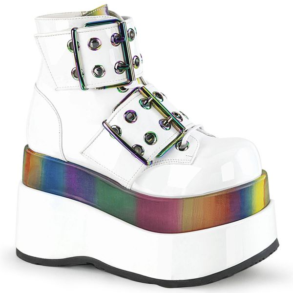 Product image of Demonia BEAR-104 White Patent-Rainbow Reflective 4 1/2 inch Tiered Platform Lace-Up Ankle Boot Side Zip