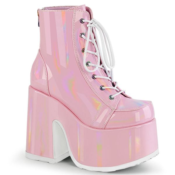 Product image of Demonia CAMEL-203 B.Pink Holographic 5 inch (12.7 cm) Chunky Heel 3 inch (7.6 cm) P/F Lace-Up Ankle Boot Metal Back Zip