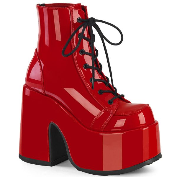 Product image of Demonia CAMEL-203 Red Patent 5 inch (12.7 cm) Chunky Heel 3 inch (7.6 cm) P/F Lace-Up Ankle Boot Metal Back Zip
