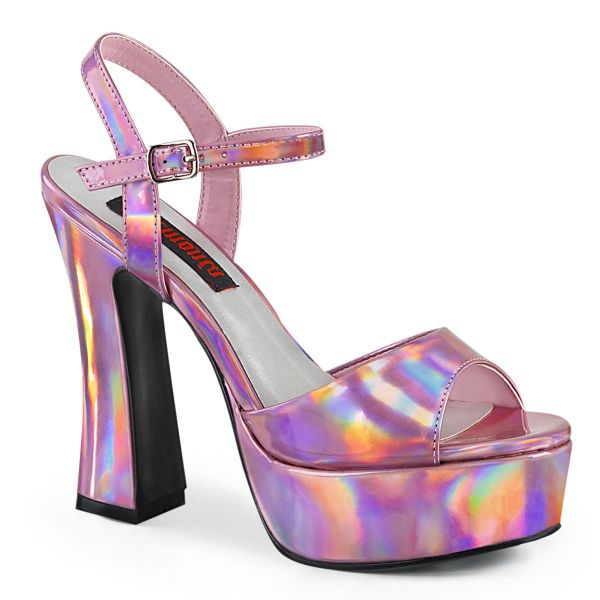 Product image of Demonia DOLLY-09 Pink Holographic 5 inch (12.7 cm) Chunky Heel 1 3/8 inch (3.8 cm) Platform Ankle Strap Sandal Shoes