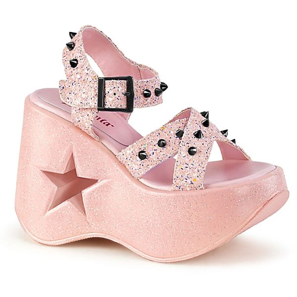 Product image of Demonia DYNAMITE-02 Baby Pink Glitter 5 inch Stars Cutout Platform Wedge Ankle Strap Sandal Shoes