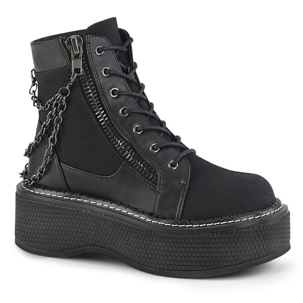 Product image of Demonia EMILY-114 Black Canvas-Vegan Faux Leather 2 inch (51 cm) Platform Lace-Up Bootie Outer Metal Zip