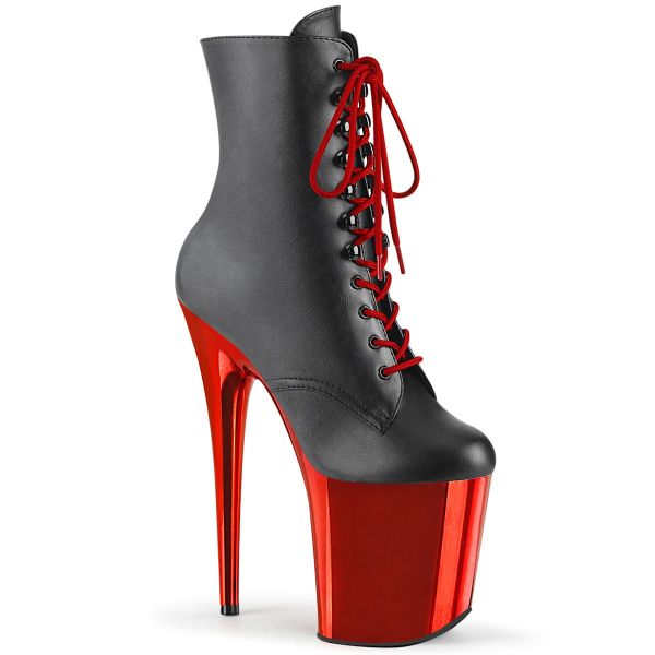 Product image of Pleaser FLAMINGO-1020 Black Faux Leather/Red Chrome 8 inch (20 cm) Heel 4 inch (10 cm) Platform Two Tone Lace-Up Front Ankle Boot Side Zip