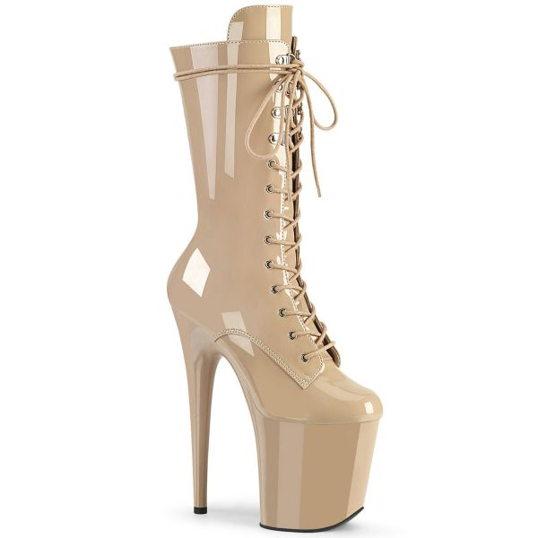 Product image of Pleaser FLAMINGO-1050 Nude Patent/Nude 8 inch (20 cm) Heel 4 inch (10 cm) Platform Lace-Up Glitter Ankle Boot Side Zip