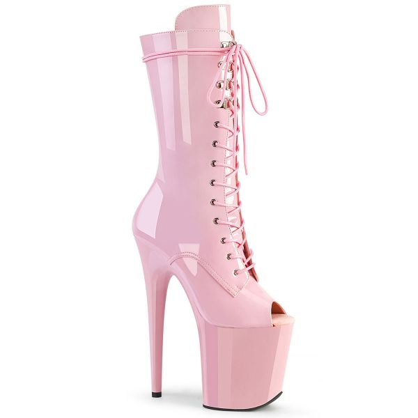 Product image of Pleaser FLAMINGO-1051 Baby Pink Patent/Baby Pink 8 inch (20 cm) Heel 4 inch (10 cm) Platform Lace-Up Glitter Ankle Boot Side Zip