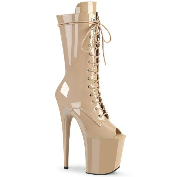 Product image of Pleaser FLAMINGO-1051 Nude Patent/Nude 8 inch (20 cm) Heel 4 inch (10 cm) Platform Lace-Up Glitter Ankle Boot Side Zip
