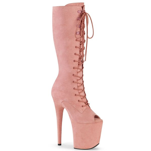 Product image of Pleaser FLAMINGO-2051FS Baby Pink Faux Suede/Baby Pink Faux Suede 8 inch (20 cm) Heel 4 inch (10 cm) Platform Peep Toe Lace-Up Knee Boot Side Zip